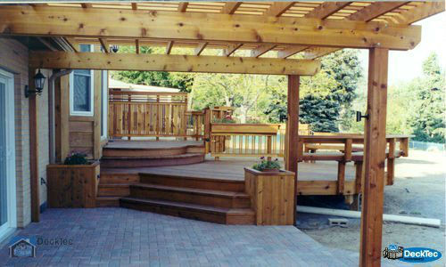 Deck & Patio Combinations - DeckTec Outdoor Designs on Deck And Paver Patio Ideas id=48938